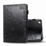 For iPad 5 / 6 / 7 / 8 Embossed Mandala Pattern TPU + PU Horizontal Flip Leather Case with Holder & Card Slots & Wallet(Black)