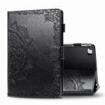 For iPad 5 / 6 / 7 / 8 Embossed Mandala Pattern TPU + PU Horizontal Flip Leather Case with Holder & Card Slots & Wallet(Black)