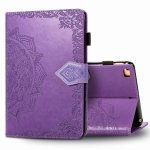 For iPad Mini 5 / 4 / 3 / 2 / 1 Embossed Mandala Pattern TPU + PU Horizontal Flip Leather Case with Holder & Card Slots & Wallet(Purple)