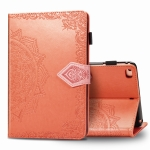 For iPad Mini 5 / 4 / 3 / 2 / 1 Embossed Mandala Pattern TPU + PU Horizontal Flip Leather Case with Holder & Card Slots & Wallet(Orange)