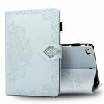 For iPad Mini 5 / 4 / 3 / 2 / 1 Embossed Mandala Pattern TPU + PU Horizontal Flip Leather Case with Holder & Card Slots & Wallet(Grey)
