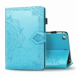 For iPad Mini 5 / 4 / 3 / 2 / 1 Embossed Mandala Pattern TPU + PU Horizontal Flip Leather Case with Holder & Card Slots & Wallet(Blue)