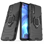 For OPPO Reno4 Shockproof PC + TPU Protective Case with Magnetic Ring Holder(Black)