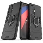 For Vivo iQOO 5 Pro 5G Shockproof PC + TPU Protective Case with Magnetic Ring Holder(Black)