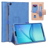 For Samsung Galaxy Tab A 10.1 (2019) T510 / T515 Retro Texture PU Horizontal Flip Leather Case with Holder & Card Slots & Hand Strap(Blue)