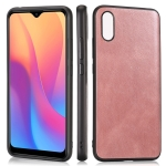 For Xiaomi Redmi 9A Crazy Horse Textured Calfskin PU+PC+TPU Case(Rose Gold)