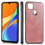 For Xiaomi Redmi 9C Crazy Horse Textured Calfskin PU+PC+TPU Case(Rose Gold)