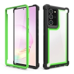 For Samsung Galaxy Note20 Four-corner Shockproof All-inclusive Transparent Space Protective Case(Black Green)