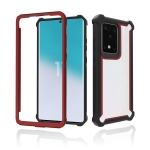 For Samsung Galaxy S20 Four-corner Shockproof All-inclusive Transparent Space Protective Case(Black Red)