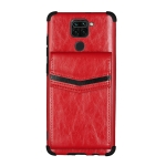 For Xiaomi Redmi Note 9 Flip Card Bag Copper Buckle TPU + PU Leather Back Cover Shockproof Case with Card Slots & Photo Frame(Red)