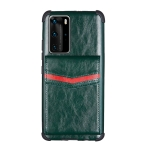 For Huawei P40 Pro Flip Card Bag Copper Buckle TPU + PU Leather Back Cover Shockproof Case with Card Slots & Photo Frame(Green)