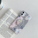 For iPhone 11 Pro Colorful Laser Flower Series TPU Mobile Phone Case with Folding Holder(Pink Flower)