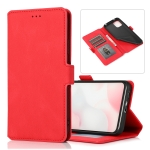 For Xiaomi Mi 10 Lite Retro Magnetic Closing Clasp Horizontal Flip Leather Case with Holder & Card Slots & Photo Frame & Wallet(Red)