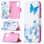 For Samsung Galaxy S20 FE 5G / S20 Lite Colored Drawing Pattern Horizontal Flip Leather Case with Holder & Card Slots & Wallet(Butterflies Love Flower)