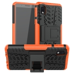 For Samsung Galaxy A01 Core Tire Texture Shockproof TPU + PC Protective Case with Holder(Orange)
