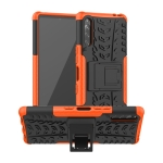 For Sony Xperia L4 Tire Texture Shockproof TPU + PC Protective Case with Holder(Orange)