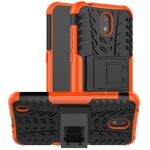 For Nokia 1.3 Tire Texture Shockproof TPU + PC Protective Case with Holder(Orange)