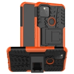 For Google Pixel 5 Tire Texture Shockproof TPU + PC Protective Case with Holder(Orange)