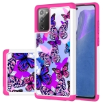For Samsung Galaxy Note20 Coloured Drawing Pattern PU Skinny + TPU Protective Case(Butterfly)