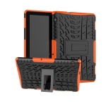 For Huawei MediaPad T5 Tire Texture Shockproof TPU + PC Protective Case with Holder(Orange)
