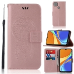 For Xiaomi Redmi 9C Wind Chime Owl Embossing Pattern Horizontal Flip Leather Case with Holder & Card Slots & Wallet(Rose Gold)
