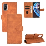 For OPPO Realme X7 Solid Color Skin Feel Magnetic Buckle Horizontal Flip Calf Texture PU Leather Case with Holder & Card Slots & Wallet(Brown)