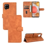For Samsung Galaxy A42 5G Solid Color Skin Feel Magnetic Buckle Horizontal Flip Calf Texture PU Leather Case with Holder & Card Slots & Wallet(Brown)