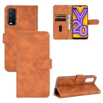 For Vivo Y20 / Y20i (Indian) Solid Color Skin Feel Magnetic Buckle Horizontal Flip Calf Texture PU Leather Case with Holder & Card Slots & Wallet(Brown)