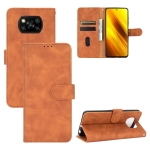 For Xiaomi Poco X3 NFC Solid Color Skin Feel Magnetic Buckle Horizontal Flip Calf Texture PU Leather Case with Holder & Card Slots & Wallet(Brown)