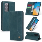 For Huawei P40 Pro POLA 008 Series Retro Classic Magnetic Horizontal Flip Leather Case with Holder & Card Slots(Blue)