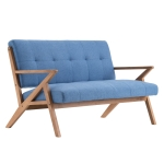 [US Warehouse] Retro Two-seat Sofa Chair with K-shaped Solid Wood Legs / Armrests, Size: 128 x 78.7 x 78cm