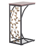 [US Warehouse] Wrought Iron C-shaped Table with Leaf Pattern, Size: 30.5x21x54cm