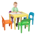 [US Warehouse] 5 in 1 Children Plastic Table + 4 Chairs Set, Table Size: 19.7 x 19.7 x 18.1 inch, Chair Size: 17.72 x 11.42 x 10.2 inch