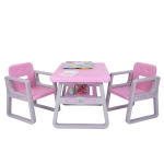 [US Warehouse] 3 in 1 Children Plastic Table with Storage Shelf + 2 Chairs Set, Table Size: 31 x 19.5 x 19.3 inch, Chair Size: 20.5 x 15.6 x 15 inch(Pink)