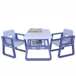 [US Warehouse] 3 in 1 Children Plastic Table with Storage Shelf + 2 Chairs Set, Table Size: 31 x 19.5 x 19.3 inch, Chair Size: 20.5 x 15.6 x 15 inch(Blue)