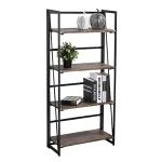 [US Warehouse] 4 Tiers Folding Bookshelf Home Office Industrial Wooden Storage Shelves
