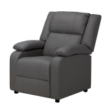 [UK Warehouse] PU Leather Single Sofa Reclining Chair with Armrests & Retractable Footstool, Size: 101 x 94 x 94cm