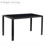[US Warehouse] Simple Glass Table Top Dining Table For 6 People, Size:134 x 70 x 75cm(Black)