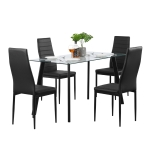 [US Warehouse] DA130 Simple Metal Tempered Glass Dining Table And Chair Set(Black)