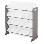 [US Warehouse] 4-layer 16-compartment Toy Storage Rack, Gray Frame + All White Plastic Basket