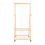 [US Warehouse] Two-tier Storage Coat Rack with Wheels, Size: 166x75x33cm