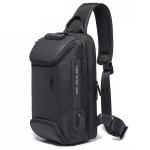 BANGE Men Security USB Chest Bag Portable Outdoor Shoulder Bag(Black)