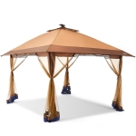 [US Warehouse] 3.65 x 2.9m Outdoor Foldable Awning Pergola with Mosquito Netting & Solar LED Light