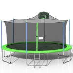 [US Warehouse] 16FT Outdoor Activity Round Trampoline Bouncing Bed with backboard(Green)