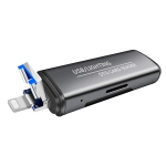 118 2 in 1 USB + 8 Pin Interfaces USB Flash Disk / Memory Card OTG Card Reader for IOS System Mobile Phone / Computer (Dark Gray)