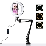 PULUZ 7.9 inch 20cm Ring Curved Light + Desktop Arm Stand USB 3 Modes Dimmable Dual Color Temperature LED Vlogging Selfie Photography Video Lights with Phone Clamp (Black)