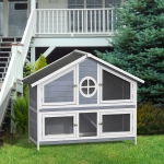 [US Warehouse] Rabbit Hutch Wood House Pet Cage for Small Animals(Grey)