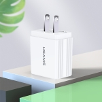 USAMS US-CC089 T24 2.1A Dual USB Travel Charger Power Adapter, US Plug (White)