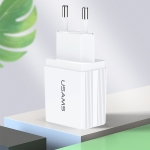 USAMS US-CC090 T24 2.1A Dual USB Travel Charger Power Adapter, EU Plug (White)