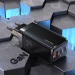 USAMS US-CC110 T33 65W GaN Mini Fast Charging Travel Charger Power Adapter, EU Plug (Black)